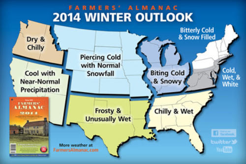 The Farmers' Almanac is calling for a cold and wet winter in Maryland in 2014.