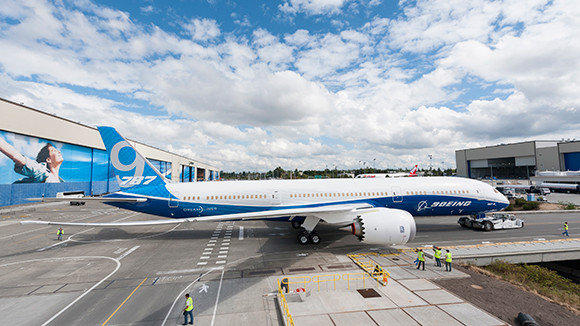 The first Boeing 787-9, a longer version of the company's Dreamliner, is seen at the company's factory in Everett, Wash.