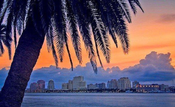 The night skyline of West Palm Beach, Fla.
