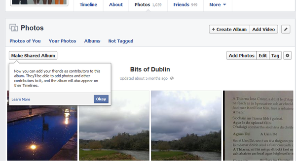 A screenshot of Facebook.com that shows a new button in photo albums that allows an album owner to invite other friends to upload photos into the album. Facebook says the feature could be useful for bringing together photos from events into one place.