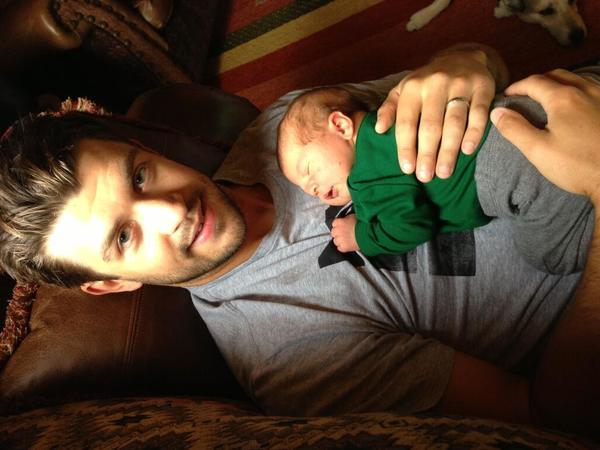 Twitter photo from the Blackhawks of defenseman Brent Seabrook and his son, Carter Seven Seabrook.