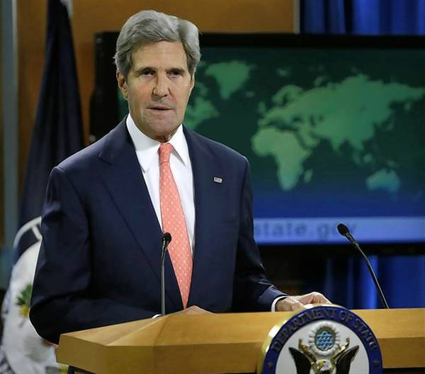 Secretary of State John Kerry addresses the media on the Syrian situation in Washington.