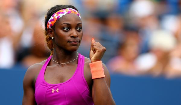 Sloane Stephens celebrates a point during her first-round victory over Mandy Minella at the U.S. Open on Monday.
