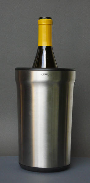 OXO's steel wine sleeve holds a bottle of already chilled wine at a steady temperature for a couple of hours.