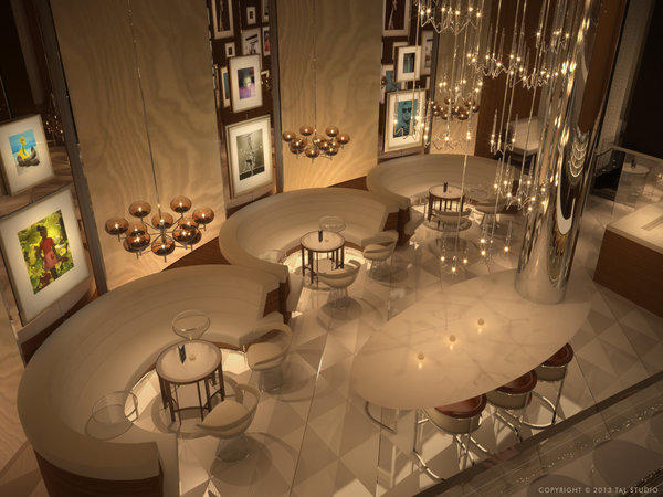 Fizz, David Furnish's planned Champagne lounge inside Caesars Palace (shown in an artist's rendering), will evoke the feel of the L.A. home he shares with longtime partner Elton John. It is expected to open in November.