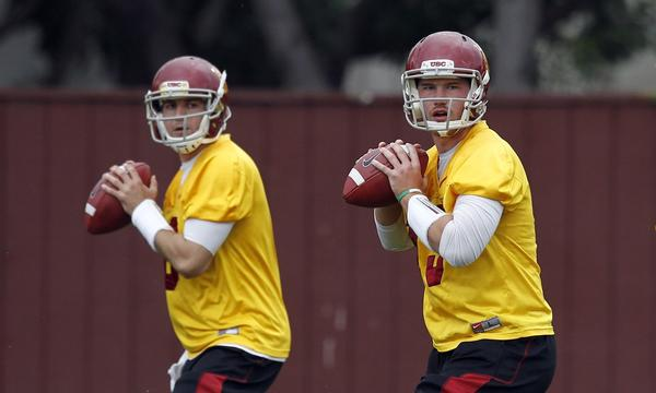 USC quarterbacks Cody Kessler, left, and Max Wittek are listed as co-starters for the Trojans' season opener against Hawaii on Thursday.