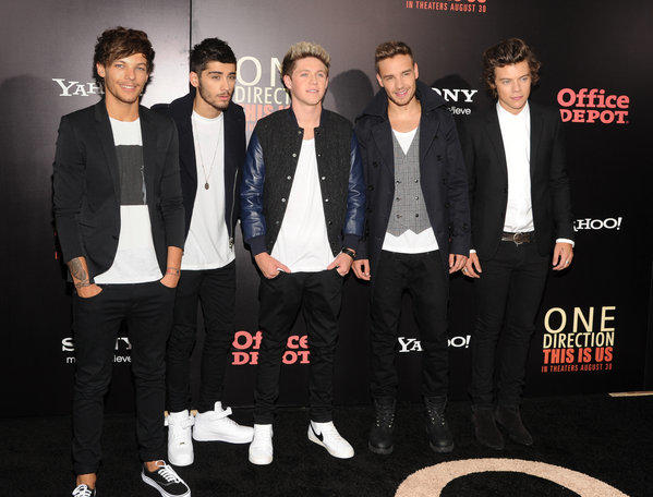 "British boy band One Direction, from left, Louis Tomlinson, Zayn Malik, Niall Horan, Liam Payne and Harry Styles, attend the premiere of ""One Direction: This Is Us"" in New York."