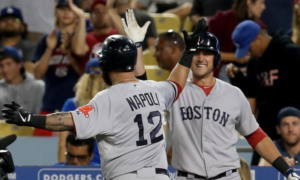 Mike Napoli's two-run home run played a key role in the Boston Red Sox's 8-1 win over the Dodgers on Sunday.
