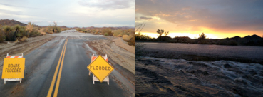 Pinto Basin Road in Joshua Tree National Park was closed as thunderstorms pounded Southern California, officials said Monday.
