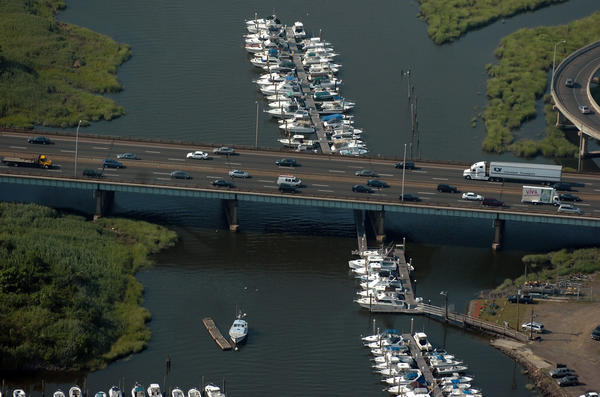 Near rush hour, traffic in an aeriel view of the bridge over the West River in Connecticut along I-95 in New Haven.