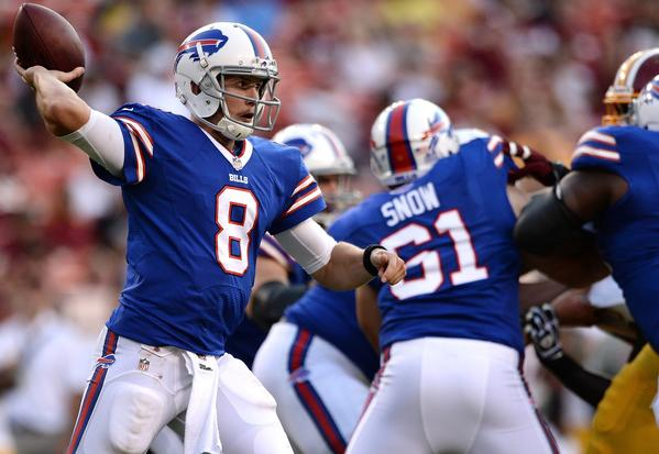 Jeff Tuel throws to a receiver against the Washington Redskins during a preseason game at FedEx Field in Landover, Md.