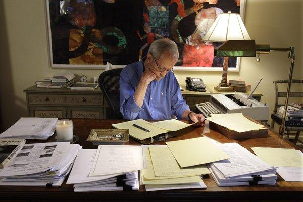 Elmore Leonard at work in 2010.