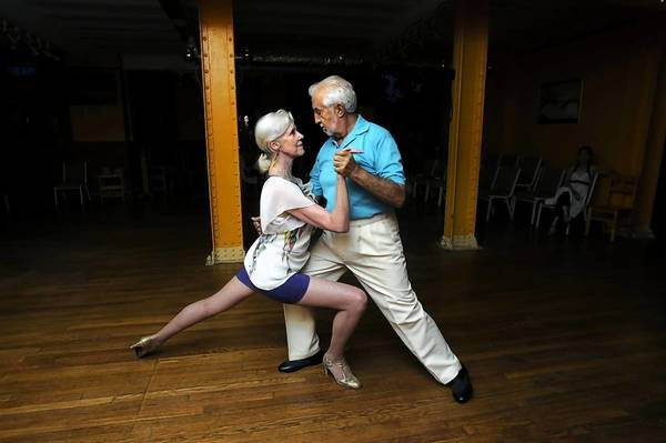 Margaret McLaren of West Hartford dances the Argentine Tango with instructor Jaime Alvarez at a monthly dance party at Metro Tango, a social dance club at the Metropolitan Community Church in Hartford
