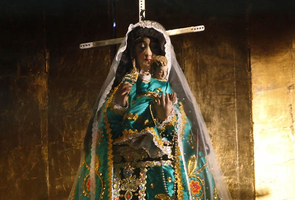 A statue at the Basilica of Our Lady of Copacabana in Bolivia. Thieves stole the jewels, worth an estimated $1 million, from her crown.