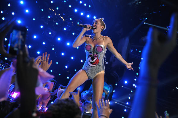 Miley Cyrus at the MTV Video Music Awards in Brooklyn, N.Y., on Sunday.