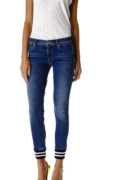 Mother Trainer jeans with a sporty band at the bottom, $196