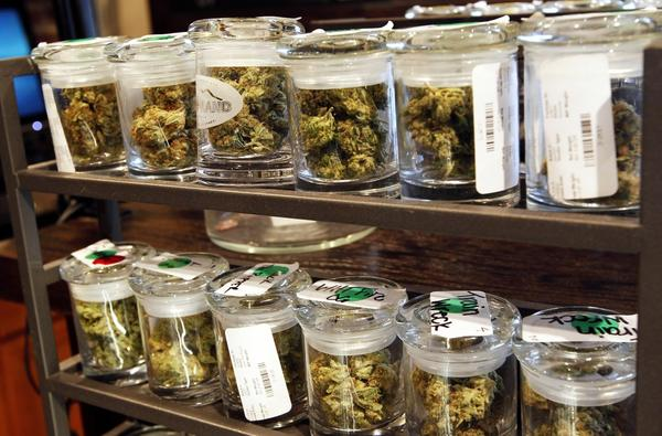 Several varieties of marijuana buds are displayed for sale at a medical marijuana center in Denver in this 2012 file photo. The regulations for Connecticut's medical marijuana system were approved Tuesday, enabling the state to move forward with the program.