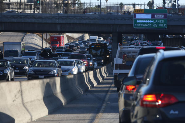 Traffic snarls through downtown L.A. on the 110 freeway. Los Angeles drivers are among the worst in the nation, a survey has found.