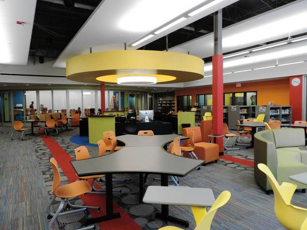 Furniture in Hadley Junior High's new Library Media Center can be moved to accommodate classroom needs