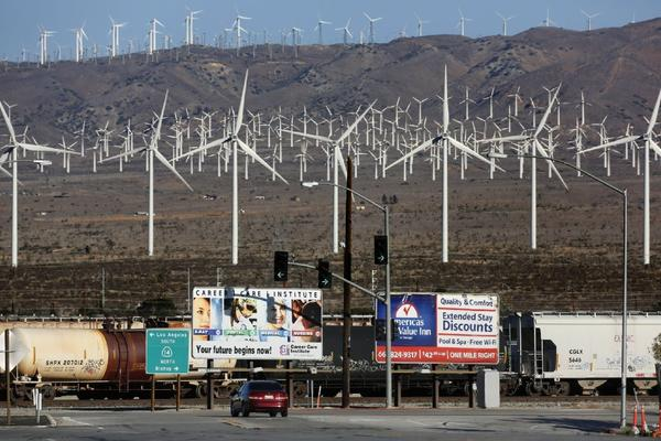 A wind farm near Tehachapi, Calif. A Lawrence-Berkeley lab study says such generators don't affect housing values.