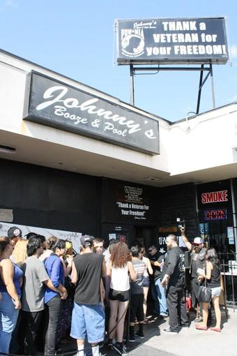 Fans of Avenged Sevenfold line up outside Johnny's Saloon last week in the hope of scoring free concert tickets.