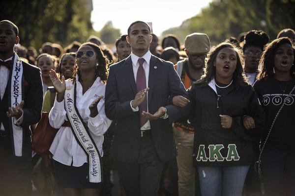 Howard University students march from campus to the Lincoln Memorial to participate in the Realize the Dream Rally for the 50th anniversary of the March on Washington on Aug. 24.