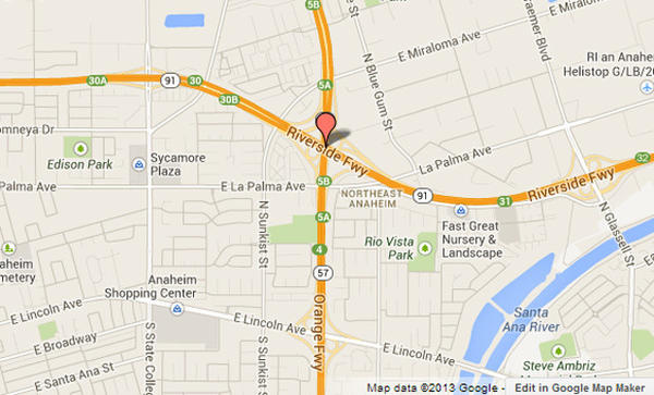 Approximate location, shown in red, where the 91 Freeway was closed while crews worked to clear downed power lines.