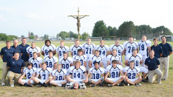 2013 St. Mary football team (front row, l-r): Graham Morrison, Nick Harrington, Andrew Greif, Charles Strehl, Alphonse Buclay, Orion Beningo, Jack Lochinski, (second row, l-r): assistant coach Kyle Hervela, Josh Nowicki, Anders Marquard, Adam Nowicki, Parker Clark, Cameron Juneac, Cole Loffer, Brandon Nowicki, assistant coach Alex Hughes; (back row, l-r): assistant coaches Mike Worm, Dennis Borowiak and Jeff Greif, Billy Koenig, Jerell Krussell, Gage Andrews, Kyle Koski, Anthony Kline, Will Canfield, Brendon Gorney, Geoff Wind, Ethan Szymanski, assistant coach Justin Rutkowski, head coach Kevin OConnell