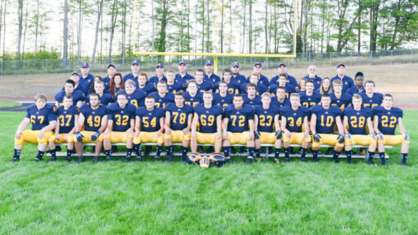 The 2013 Gaylord High School football team (front row, l-r): Nathan Kwapis, Matt Kempfer, Zach Hayner, Zack Pasternak, Lance Cottrell, Nick Parker, Blake Miller, Mike Shryock, Leland Huey, Brad Byrne, Ty Coonrod, Dan Schober, Robb Trelfa; (second row, l-r): Kyle Augustine, Lance Chapman, Jerry Williams III, Tanner Jones, Will Stecker, Steven Fitzek, Tristan Gregory, Marcus ORourke, Matt Jenkins, Brad Britting, Zach Perry; (third row, l-r): coach Shawn Sargent, manager Gabrielle Rapp, manager Makenzie Lucas, Billie Johnson II, Shane Foster, Collin Watters, Drew Cleaver, Cotton Neff, Sam Rinke, manager Alaina Taylor, manager Brice Hervela, coach Irving Lambert; (back row, l-r): coach Doug Robinson, coach Bobby Juranek, coach Doug Waha, coach Dave Schuster, coach Bobby Juranek, head coach Will Cleaver, coach Kyle Phelps, coach Craig Phelps, coach Bobby McNamara, coach Doug James, coach Rich Marshall.
