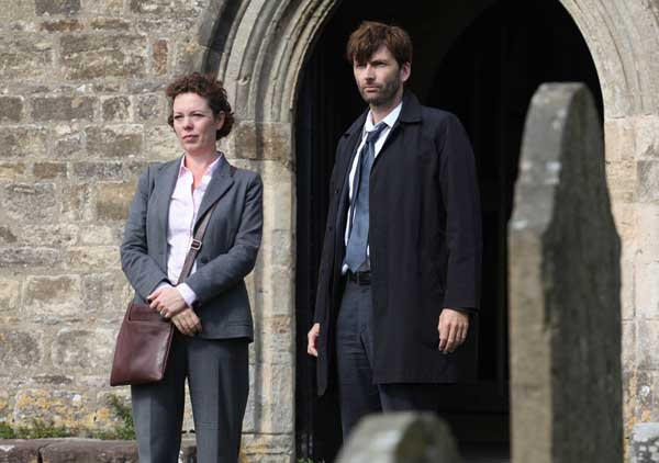"Detectives (Olivia Colman, David Tennant) face a media frenzy in ""Broadchurch"" on BBC America."