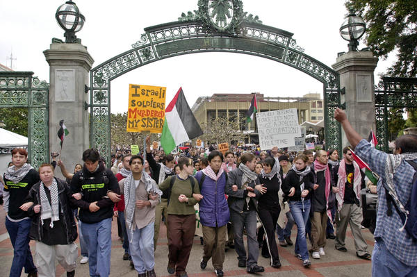 Pro-Palestinian protesters march at UC Berkeley in 2002.