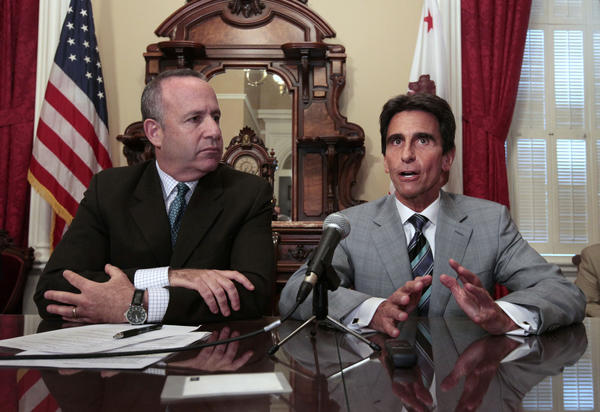 State Sen. Mark Leno, DSan Francisco, chair of the Senate budget committee, right, at a recent news conference on the budget with Sen. President Pro Tem Darrell Steinberg, DSacramento. Both say the governor's prison plan is inadequate.
