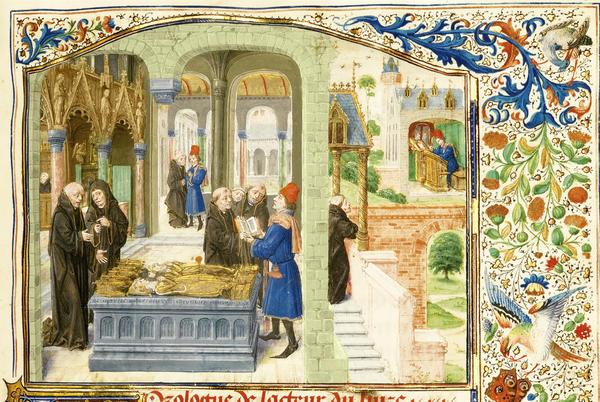 """Lieven van Lathem, """"Roman de Gillion de Trazegnies,"""" 1464, (detail)."""