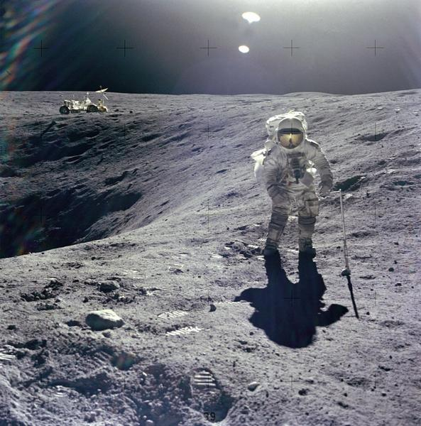 Astronaut Charles M. Duke Jr., lunar module pilot on the Apollo 16 mission, is photographed collecting lunar samples in 1972. Scientists say they've found evidence of internal water on the moon, independent of Apollo rock samples, using data from the Chandrayaan 1 spacecraft.