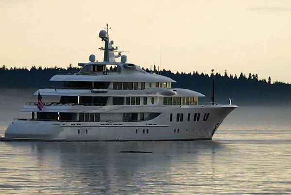 Developer Rick Caruso's 216-foot yacht, the Invictus, is shown near Seattle. The pending arrival of the Invictus and another mega-boat in Newport Harbor is testing the patience of some residents, who say the vessels will be a nuisance.