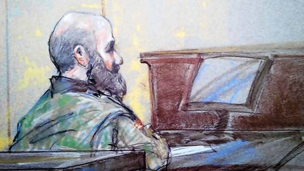 U.S. Army psychiatrist Major Nidal Hasan is pictured in court in Fort Hood, Texas in this court sketch.