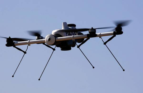 The Qube, one of the small drones made by AeroVironment, is demonstrated in Simi Valley.