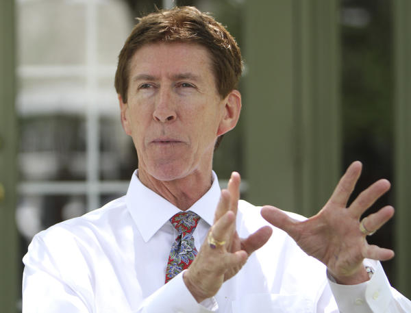George Zimmerman's attorney Mark O'Mara talks to the media at his law office in Orlando, Fla. on Tuesday, August 27, 2013.