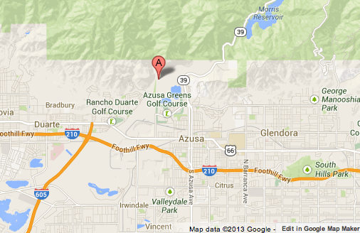 Map shows general location where a brush fire burned 40 acres above Azusa.