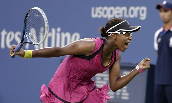 Victoria Duval reacts during her first-round victory over Samantha Stosur at the U.S. Open on Tuesday.