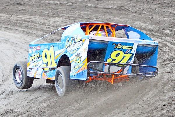Race driver Tim Buckwalter steering the No. 91 car at Grand view Speedway in Bechtelsville, PA in Berks County.
