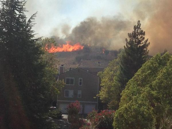 A grass fire in Fairfield burned five homes after igniting near a freeway.