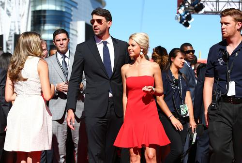 Michael Phelps and his guest Win McMurry are pictured on the red carpet before the ESPYs.