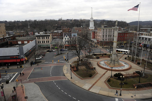 A view of Centre Square from the sixth floor of the Alpha Building in downtown Easton.