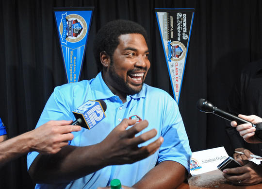 Jonathan Ogden meets with the media the day before his induction into the Pro Football Hall of Fame.