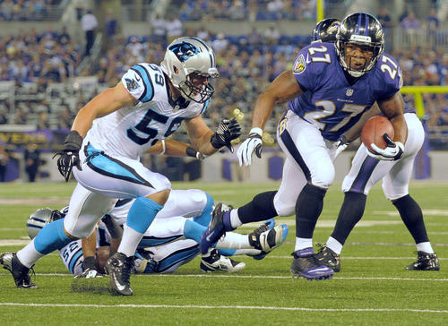 <b>Regarding the Ravens offense, any conclusion is in play.</b><br><br> For one series at least, the first-team offense looked every bit as crisp as anyone could hope -- far better than it had at any point the previous week.<br><br> Ray Rice (pictured) ran powerfully behind what is likely to be the starting offensive line, with Marshal Yanda back at right guard and Gino Gradkowski at center.<br><br> Joe Flacco expertly varied the pace and moved the ball around the field with sharp underneath passes.<br><br> When Rice glided into the end zone after nine plays and 69 yards, the anxiety from a ghastly performance against the Atlanta Falcons felt long gone.<br><br> And then everything blew up. Flacco threw two interceptions, again looking out of sync with an unfamiliar receiving corps. The running game lost its snap with Yanda out of the game. The offense essentially handed the Panthers 17 points without giving the defense a chance. <br><br> Come the second half, however, Flacco again found his rhythm, especially with receiver Marlon Brown, an undrafted rookie free agent who wasn't even considered a sure thing to make the team.<br><br> So what to make of this whiplash-inducing performance? You got me. The Ravens have never been a week-in-week-out offensive juggernaut in the Flacco years. And at the very least, it seems consistency will remain elusive this season.