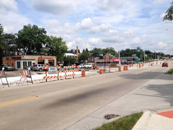 Construction along Route 64 in St. Charles has limited access to storefronts, causing sales to drop and forcing some businesses to close.