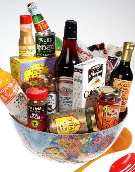 Various ethnic foods - piled in the bottom half of a globe - that can be purchased in Central Florida.