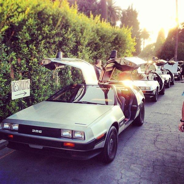 "A group of DeLoreans is parked at the Hollywood Forever Cemetery for a showing of ""Back to the Future."""