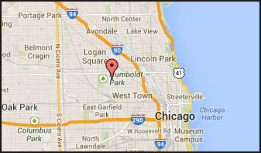 Map of location where a man was injured in a home invasion on the city's Northwest Side.